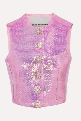 Paco Rabanne Crystal-embellished Sequined Satin Vest - Pink