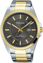 Pulsar Business Collection Mens Two-Tone Stainless Steel Gray Dial Watch