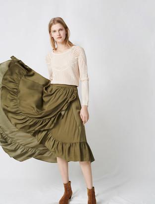 Maje Ruffled boho skirt