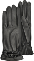 Forzieri Women's Black Leather Gloves w/ Knot