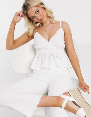 American Eagle smock triangle cami top in white