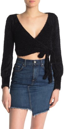 Dee Elly Fuzzy Wrap Crop Top