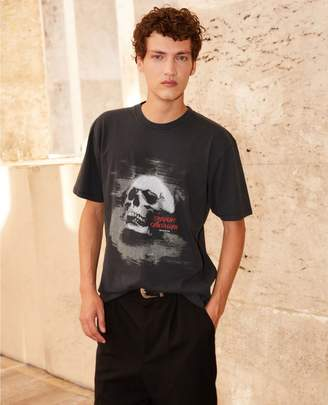 The Kooples Printed black cotton T-shirt with skull