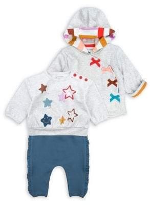 M·A·C Mac & Moon Baby Girl's Rainbow 3-Piece Cotton Hooded Jacket, Shirt & Pants Set