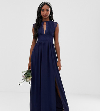 TFNC Tall Tall lace detail maxi bridesmaid dress in navy