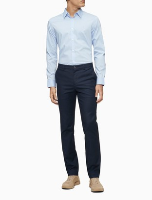 Calvin Klein Dot Print Logo Button-Down Long Sleeve Shirt