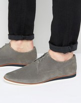 Asos Lace Up Derby Shoes In Gray Suede With Wedge Sole