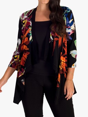 Chesca Floral Print Waterfall Shrug, Black