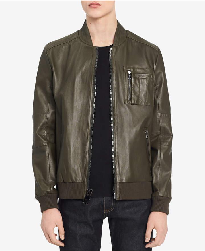 Calvin Klein Men's Leather Bomber Jacket