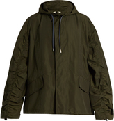 Marni Hooded ruched-sleeve cotton-blend jacket