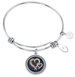 """Unwritten Sisters are Joined Heart to Heart"""" Enamel Bangle Bracelet in Stainless Steel & Rose Gold-Tone"""