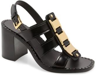 Prada Buckle Block Heel Sandal