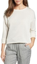 Caslon Lace-Up Sleeve Sweatshirt (Regular & Petite)