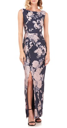 Kay Unger Cameron Floral Jacquard Column Gown