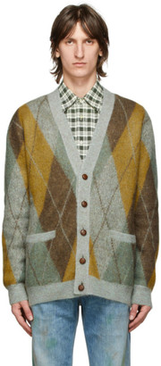 Gucci Multicolor Mohair and Wool Argyle Cardigan
