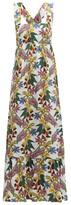Borgo de Nor Mila Floral-print Cross-back Poplin Dress - Womens - White Multi