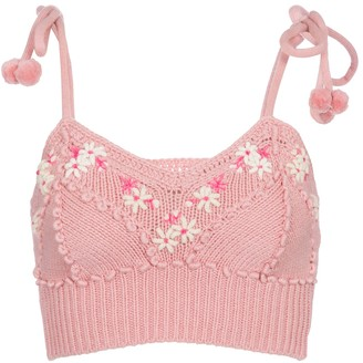 LoveShackFancy Lago floral knit bralette