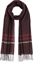 Barneys New York MEN'S BORDER-STRIPED CASHMERE SCARF-BURGUNDY, GREY, RED