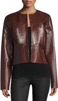 Joseph Nim Collarless Coated Leather Jacket, Mahogany