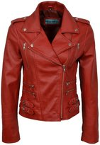 Infinity Women's Chic Retro Nappa Leather Short Biker Jacket