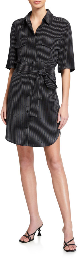 Equipment Amadee Pinstriped Button-Front Shirtdress