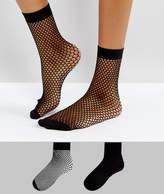 Asos 2 Pack Sheer & Fishnet Ankle Socks in Black