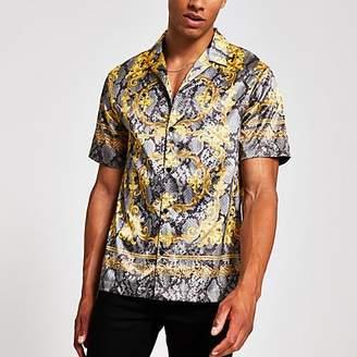 River Island Jaded London grey snake regular fit shirt