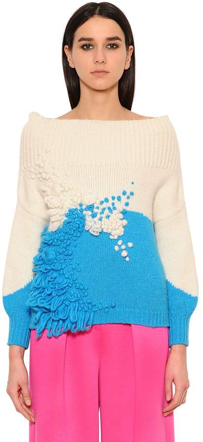 DELPOZO Flowers Embroidered Wool Blend Sweater
