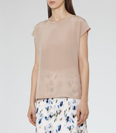 Reiss Kiki Silk-Front T-Shirt