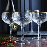 Mixed Cut Gold Rimmed Coupe Glasses, Set of 4