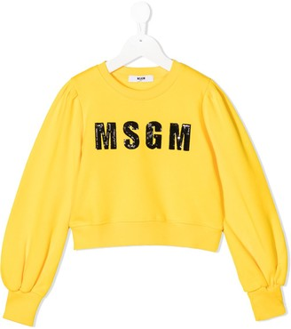 Msgm Kids Logo Embroidered Sweatshirt