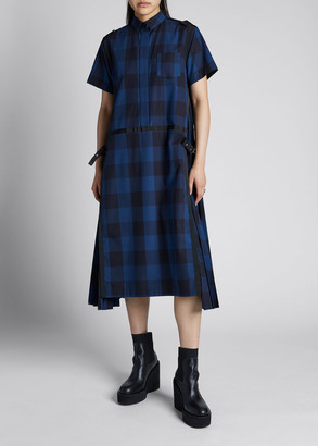Sacai Gingham Poplin Pleated Side Buckle Midi Shirtdress