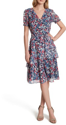 Tahari Floral Print Metallic Clip Dot Faux Wrap Dress