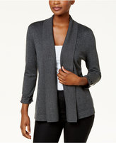 JM Collection Petite Ruched-Sleeve Cropped Cardigan, Created for Macy's