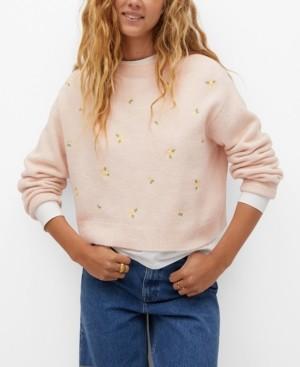 MANGO Women's Knit Embroidered Sweater