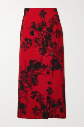 Balenciaga Floral-print Wool-crepe Midi Skirt - Red