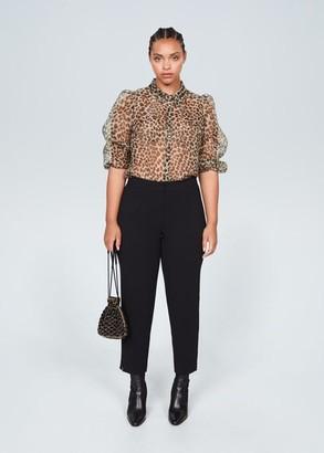 MANGO Violeta BY Leopard organza blouse beige - 10 - Plus sizes