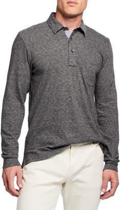 Faherty Men's Luxe Heathered Slub Long-Sleeve Polo Shirt