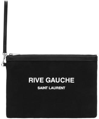 Saint Laurent Black Rive Gauche Canvas Pouch