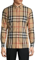 Burberry Checkered Button Down Collar Sportshirt