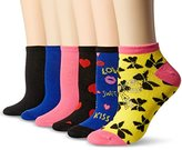 Betsey Johnson Women's Embellished Bow and Hearts Low Cut Socks 6 Pack
