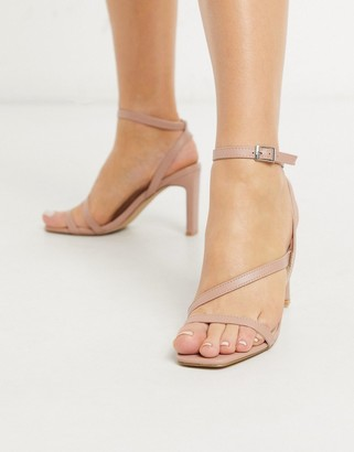 Pimkie strappy square toe sandals in pale pink
