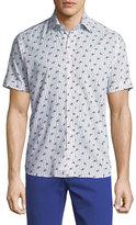 Etro Paisley-Print Short-Sleeve Cotton Shirt