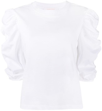 See by Chloe Round-Neck Draped-Sleeve T-Shirt