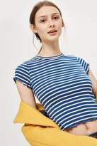 Topshop Short Sleeve Lettuce Striped T-Shirt