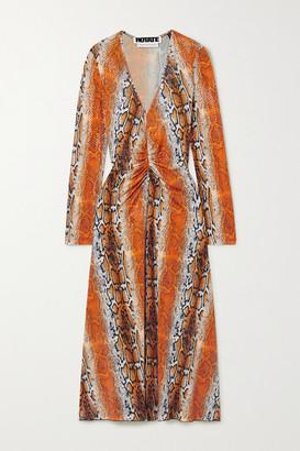 Rotate by Birger Christensen Ruched Snake-print Stretch-jersey Midi Dress