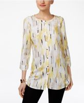 JM Collection Abstract-Print Roll-Tab Blouse, Only at Macy's