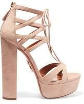 Aquazzura Beverly Hills Plateau Suede Platform Sandals