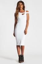 Donna Mizani Cold Shoulder Midi Slit Dress