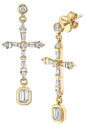Shay Symbols 18Ky Diamond Baguette Cross Drop Earrings